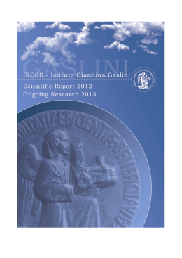 Scientific Report 2012 - Ongoing Research 2013