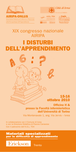 I DISTURBI DELL`APPRENDIMENTO