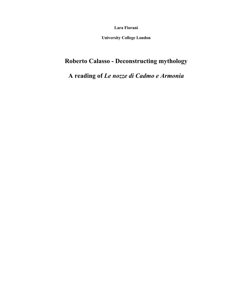 Roberto Calasso - deconstructing mythology: a