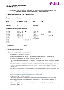 I. DENOMINATION OF THE EVENT: