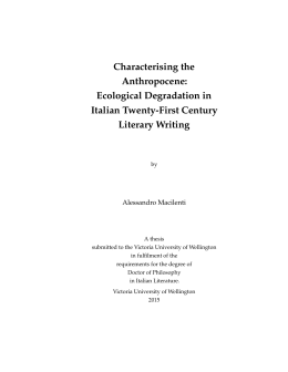 Characterising the Anthropocene: Ecological