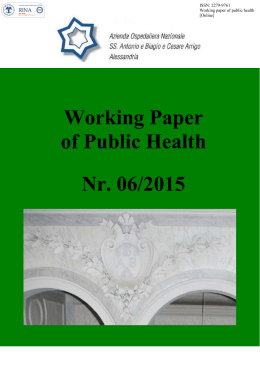 Working Paper of Public Health Nr. 06/2015