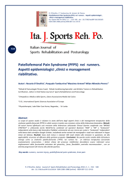 Patellofemoral Pain Syndrome (PFPS) nei runners. Aspetti