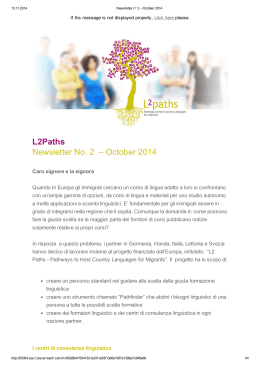 L2Paths Newsletter No. 2 – October 2014