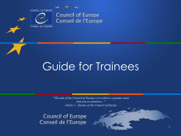 Guide for Trainees - Conseil de l`Europe