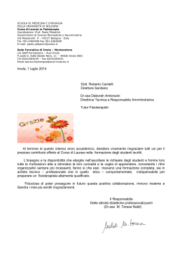 Lettera di ringraziamento - Ambulatorio Arcobaleno Ambulatorio