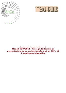 Circolare Per La Clientela Proroga Dei Termini Di Ad With Scadenza Invio 730 .
