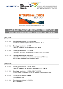 calendar of partner countries` presentations