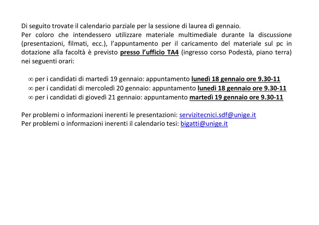 Calendario Medicina Unige.Calendario Tesi Di Genova Scienze Della Formazione