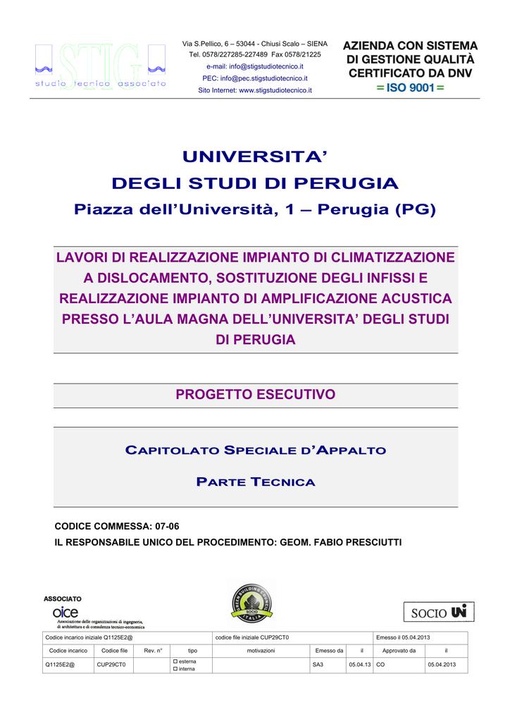 Capitolato parte tecnica - Università degli Studi di Perugia b78dca50fa1