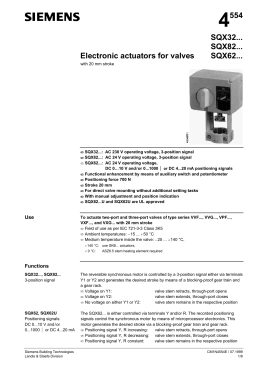4554 Electronic actuators for valves SQX32... SQX82... SQX62