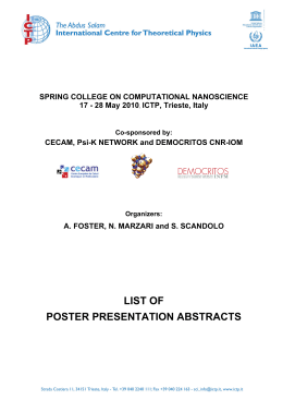 list of poster presentation abstracts