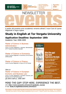Study in English at Tor Vergata University