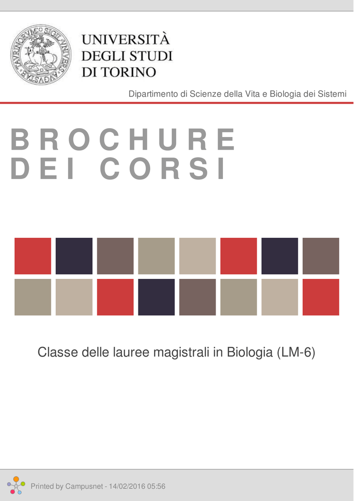 Brochure dei corsi classe delle lauree magistrali in biologia fandeluxe Gallery