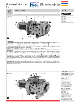 VTB 250 Operating Instructions, Specs and Parts List