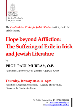 Pontifical Gregorian University - Public Lecture Prof. Paul Murray, O.P.