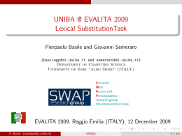 UNIBA @ EVALITA 2009 Lexical SubstitutionTask