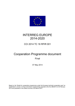 INTERREG EUROPE 2014-2020 Cooperation