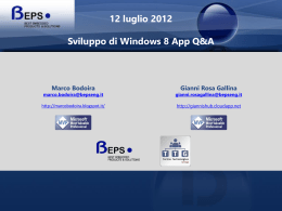 Presentazione Windows 8 - Torino Technologies Group