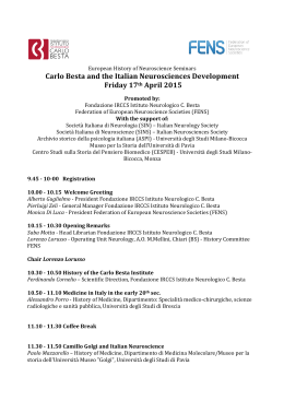 Carlo Besta and the Italian Neurosciences Development Friday 17th