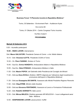 Business Forum Il Piemonte incontra la Repubblica Moldova