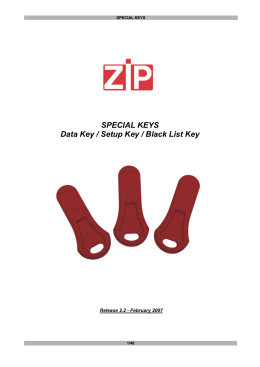 SPECIAL KEYS Data Key / Setup Key / Black List Key