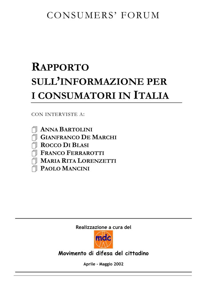 Rapporto Sull Informazione Per I Consumatori In Italia