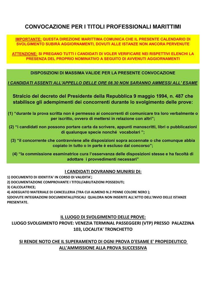 Calendario Esami Titoli Professionali Marittimi.Sessione Invernale 2015 File Completo