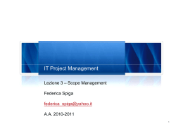 IT Project Management - Lezione 3 - Scope Management