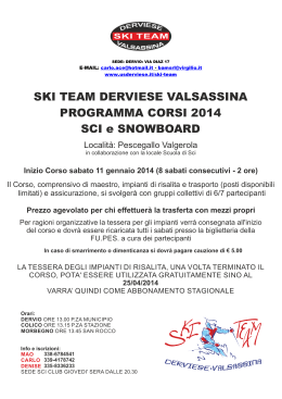 SKI TEAM DERVIESE VALSASSINA PROGRAMMA CORSI 2014