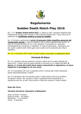 Regolamento Sudden Death Match Play Fontevivo