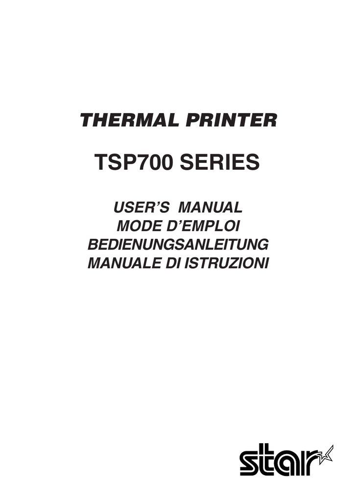 USER`S MANUAL TSP700 - STAR