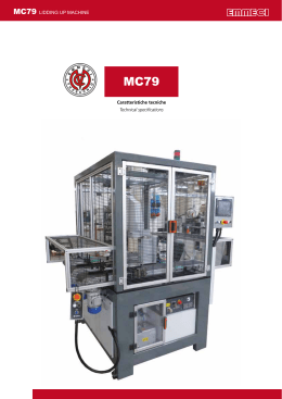 MC79 LIDDING UP MACHINE Caratteristiche tecniche