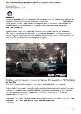 inGame.it | The Crew per PlayStation: Ubisoft ne conferma l`uscita in