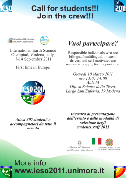 Call for students!!! Join the crew!!! More info: www.ieso2011.unimore.it