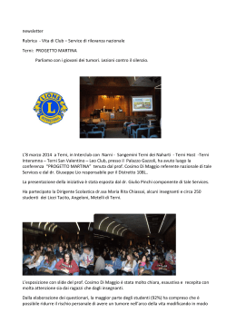 Newsletter progetto martina - Lions Club Terni San Valentino