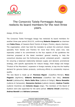 The Consorzio Tutela Formaggio Asiago reelects its board members