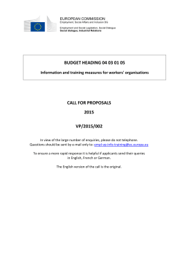 BUDGET HEADING 04 03 01 05 CALL FOR PROPOSALS