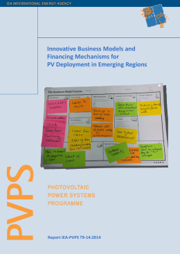Innovative Business Models and Financing Mechanisms for PV