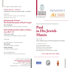 Centro Cardinal Bea - Paul in His Jewish Matrix