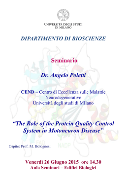 "Seminario Dr. Angelo Poletti ""The Role of the Protein Quality Control"
