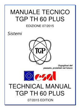 MANUALE TECNICO TGP TH 60 PLUS TECHNICAL MANUAL TGP