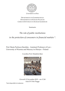 The role of public institutions in the protection of consumers in