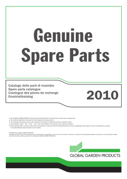 Catalogo delle parti di ricambio Spare parts catalogue Catalogue