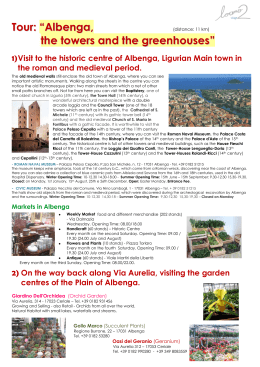 "Tour: ""Albenga, the towers and the greenhouses"""
