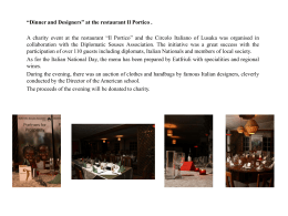 """Dinner and Designers"" at the restaurant Il Portico . A charity event at"