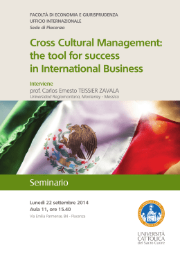 Cross Cultural Management: the tool for success in International