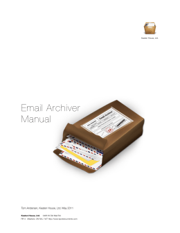 Email Archiver Manual