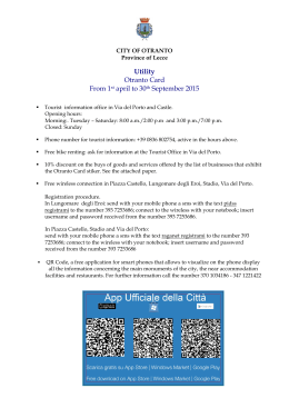 Utility Otranto Card From 1st april to 30th September 2015