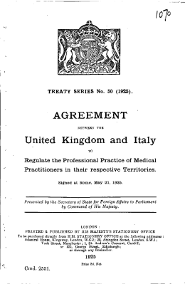 AGREEMENT United Kingdom and Italy